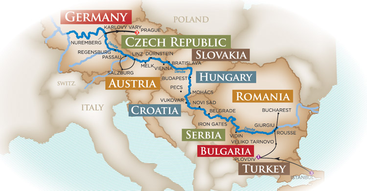 Grand Danube Cruise map
