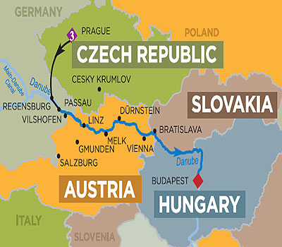 The Romantic Danube Days Prague To Budapest Or Reverse - Danube river on world map