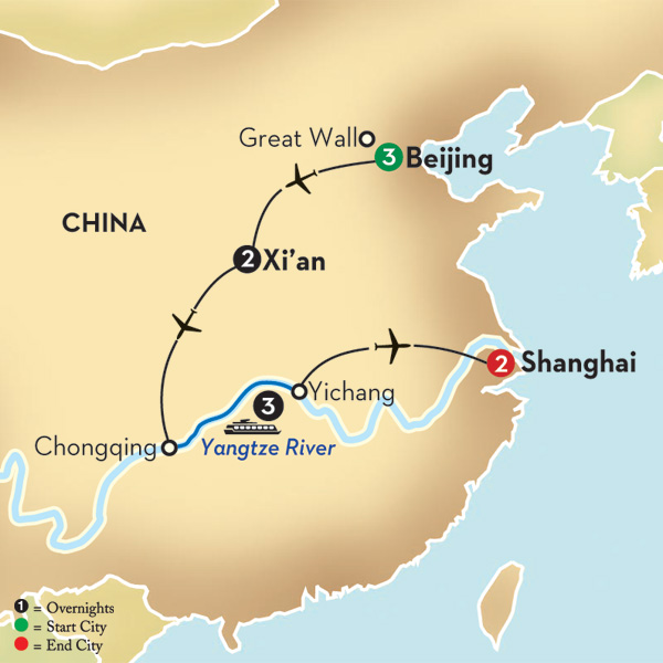 Avalon Yangtze cruise map