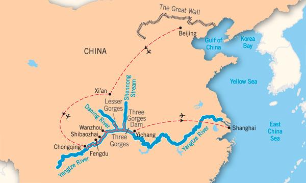 Xi River China Map.Yangtze Cruise 11 Days Beijing To Shanghai