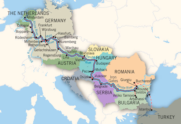 Danube River Cruise Map River Voyage Cruise Map