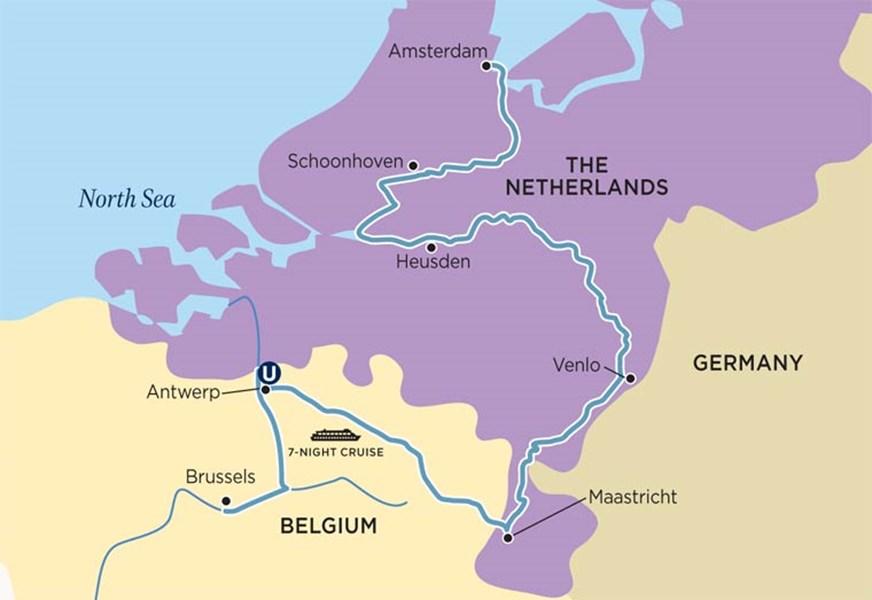 uni holland tulip time cruise map