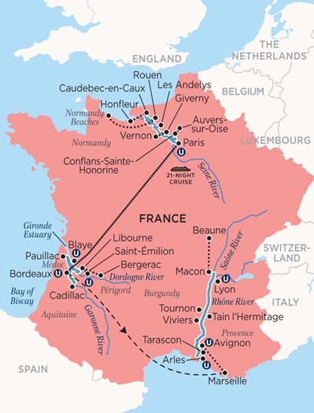 Map Of France Giverny.Ultimate France 22 Days Paris To Lyon