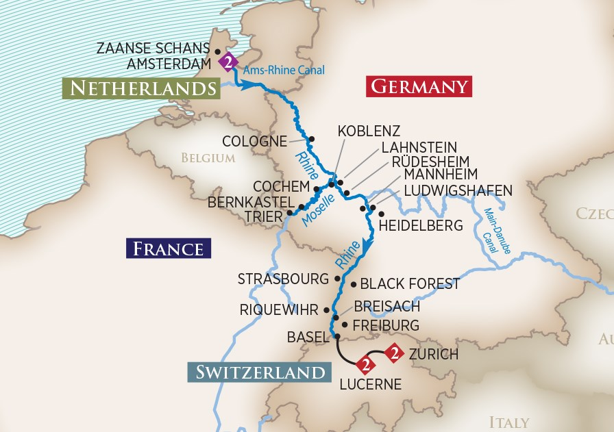 Rhine and Moselle Cruise map