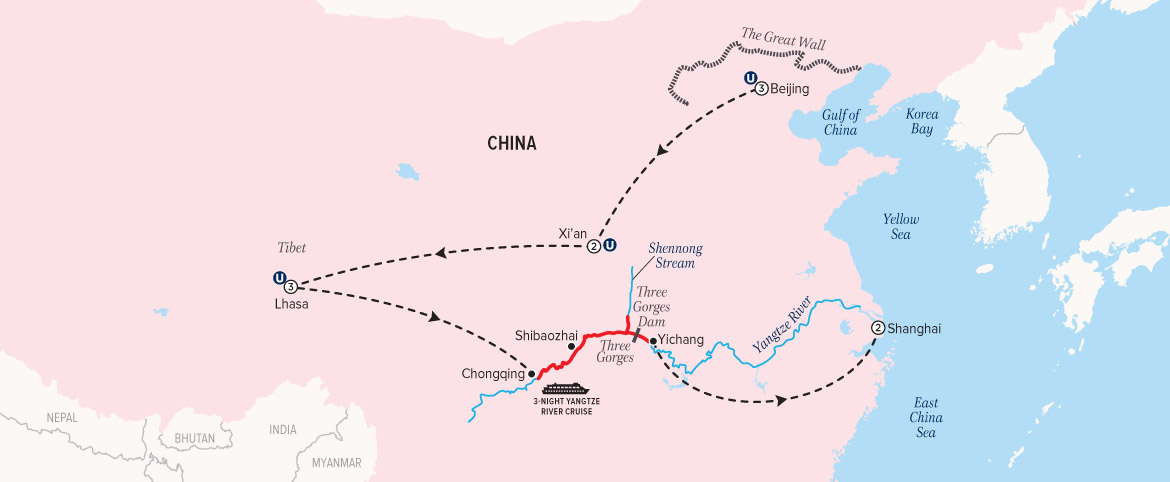 China Tibet and the Yangtze cruise map