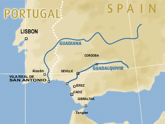 Spain river cruise map